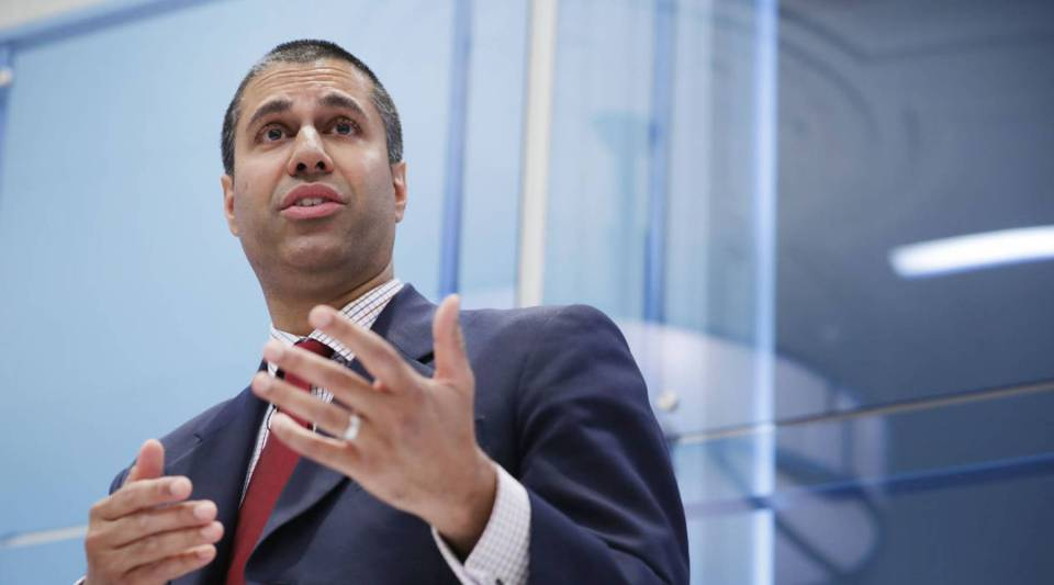 Federal Communication Commission Chairman Ajit Pai participates in a discussion at The American Enterprise Institute for Public Policy Research in May in Washington, DC.