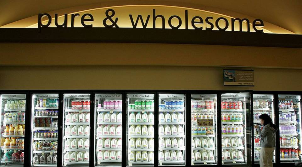 """In 2016, organic food sales broke past the $40 billion mark for the first time. Above, a customer shops for milk at a Safeway's """"Lifestyle"""" store in Livermore, California."""