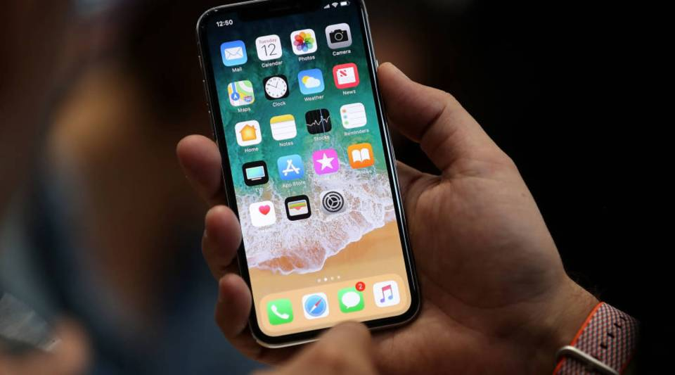 IPhones make up most of Apple's business. Above, the new iPhone X was unveiled today at the Steve Jobs Theater on the Apple Park campus in Cupertino, California.