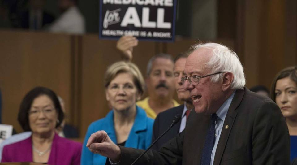 Sen. Bernie Sanders, an Independent from Vermont, introduces the Medicare for All legislation, his plan for government-sponsored universal health care, on Capitol Hill today.