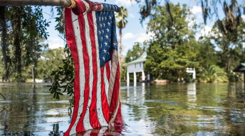 Floodwaters from Hurricane Irma recede September 13, 2017 in Middleburg, Florida. Flooding in town from the Black Creek topped the previous high water mark by about seven feet and water entered the second story of many homes.