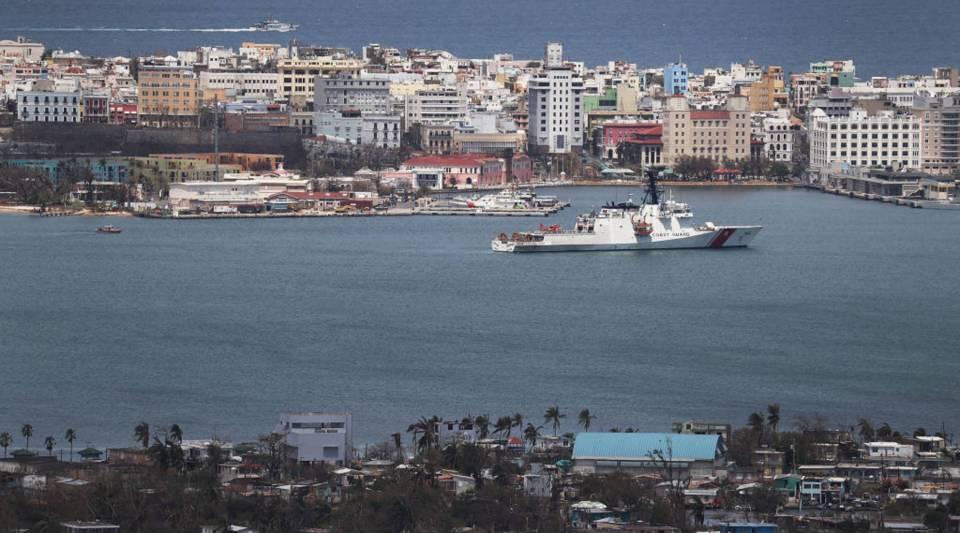 A U.S. Coast Guard cutter is seen in port as people deal with the aftermath of Hurricane Maria on September 25, 2017 in San Juan Puerto Rico. Maria left widespread damage across Puerto Rico, with virtually the whole island without power or cell service.