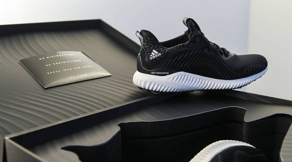 A general view of Adidas sneakers during the Adidas AlphaBOUNCE Stylelab at Duggal Greenhouse on July 23, 2016 in Brooklyn, New York.
