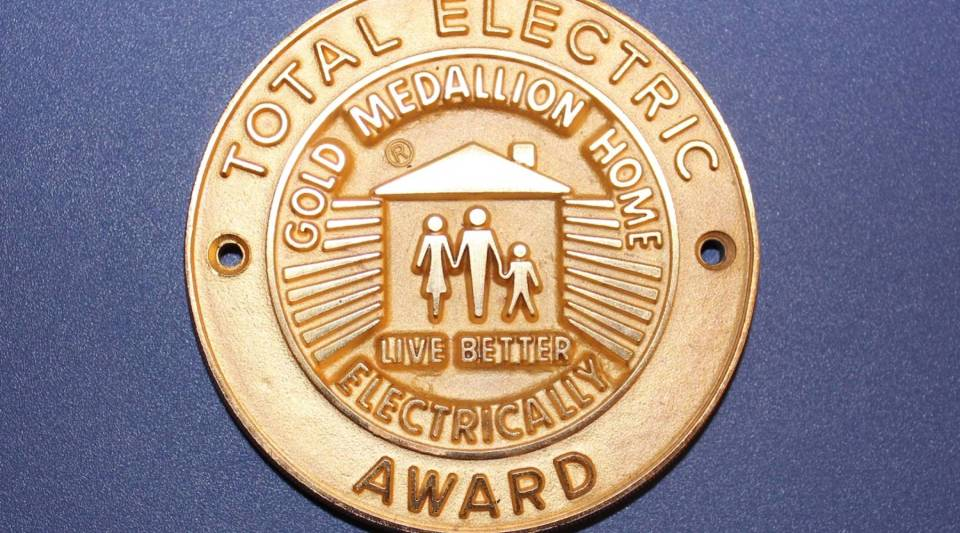 The National Electric Manufacturers Association (NEMA) once issued medallions like this one to promote the all-electric home and spur demand for electric appliances.