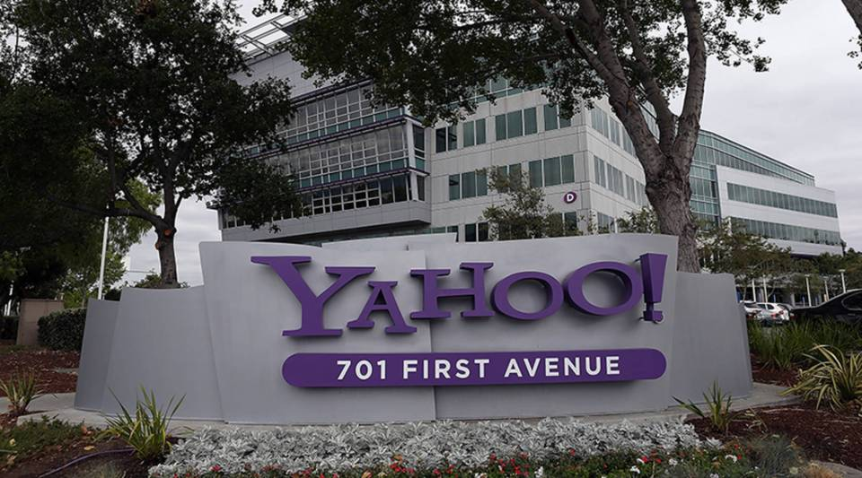 The Yahoo logo is displayed in front of the Yahoo headquarters on July 2012 in Sunnyvale, California.