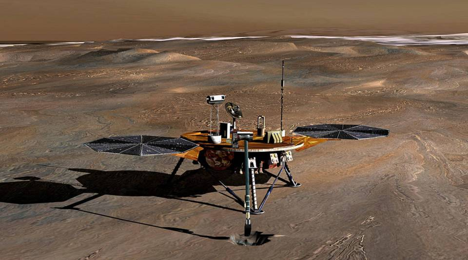 An artist's conception of the Phoenix Mars lander on the red planet.