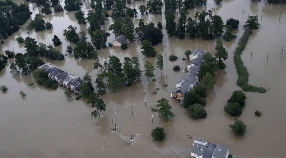 Flooded homes following Hurricane Harvey in Houston, Texas.