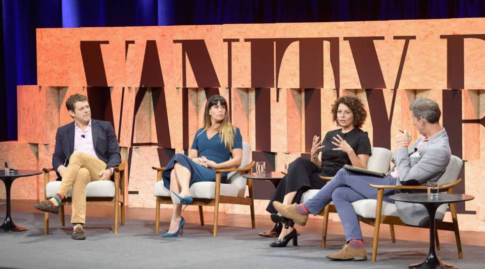 From left, Jason Blum, founder of Blumhouse; filmmaker Patty Jenkins; Donna Langley, chairwoman of Universal Pictures; and moderator Kai Ryssdal at the Vanity Fair New Establishment Summit at Wallis Annenberg Center for the Performing Arts in Beverly Hills, California, on Oct. 3.