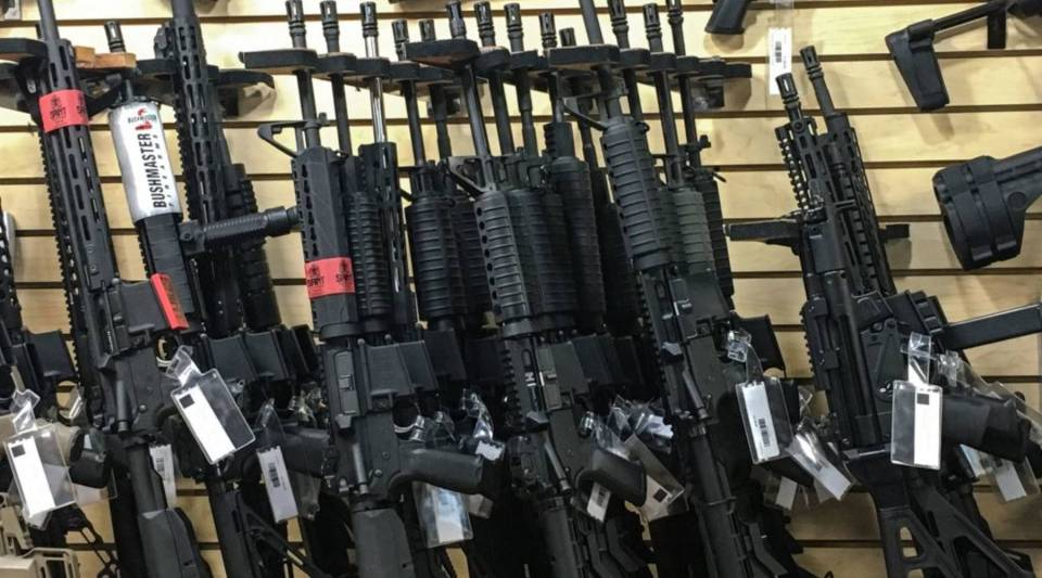 Semi-automatic rifles are seen for sale in a gun shop in Las Vegas, Nevada on October 4, 2017.
