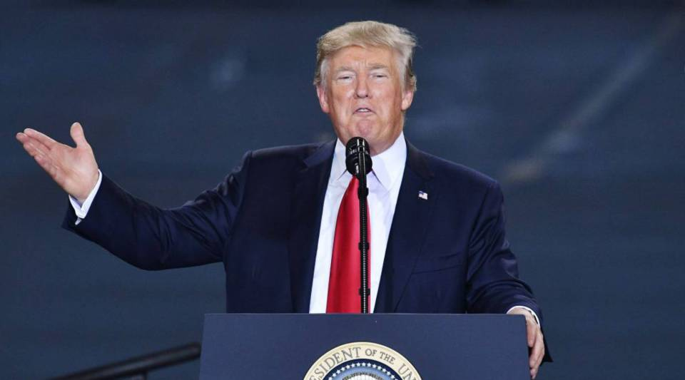 President Donald Trump speaks on tax reform at Harrisburg International Airport last week in Middletown, Pennsylvania.