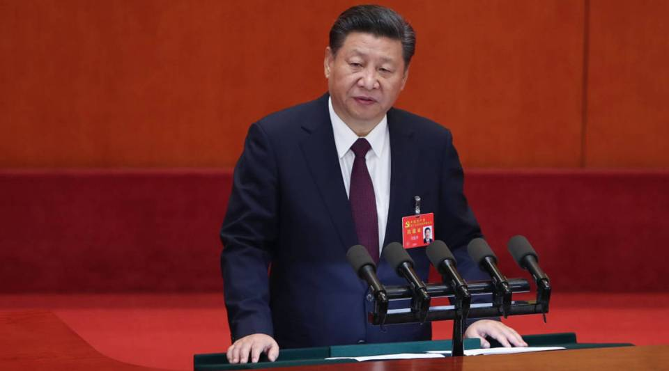 Chinese President Xi Jinping delivers a speech during the opening session of the 19th Communist Party Congress held at the Great Hall of the People today in Beijing.