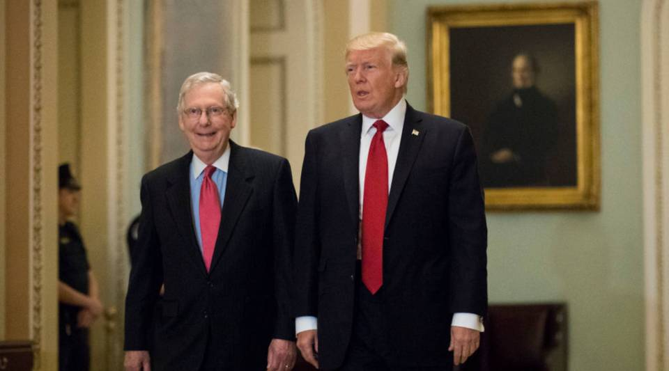 President Donald Trump and Senate Majority Leader Mitch McConnell (R-KY) on Capitol Hill yesterday. Trump joined senators to talk about upcoming legislation, including the proposed GOP tax cuts and reform.