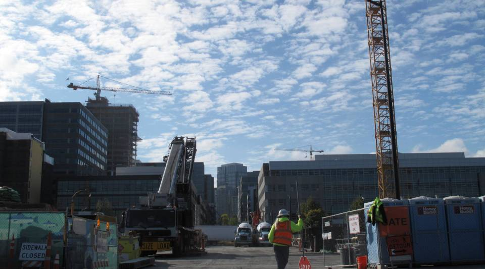 A construction site for Google's expansion in Seattle's South Lake Union. The neighborhood is home to Amazon's first headquarters and other major tech companies.