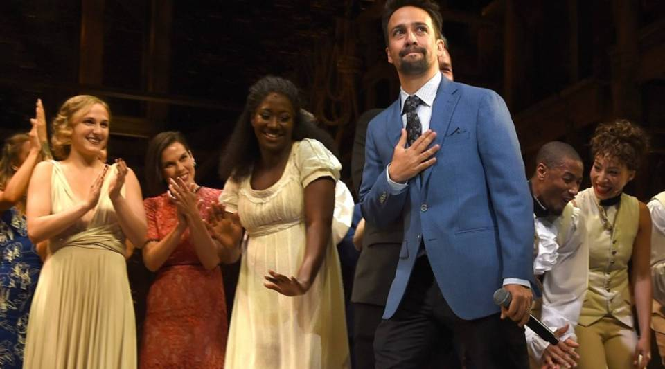 """""""Hamilton"""" actor, writer and songwriter Lin-Manuel Miranda appears with the cast on Aug. 16, opening night at the Hollywood Pantages."""