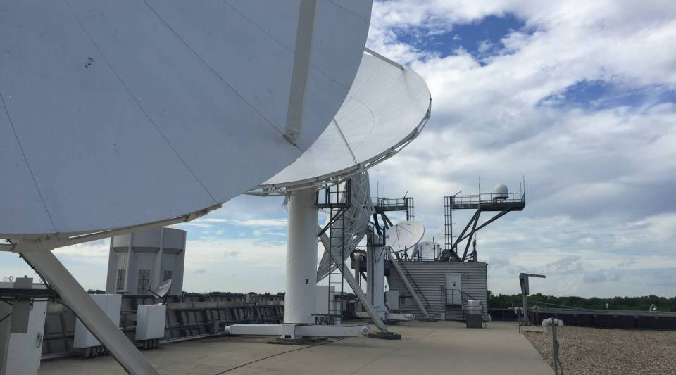 Satellites dishes on the roof of the National Oceanic and Atmospheric Administration