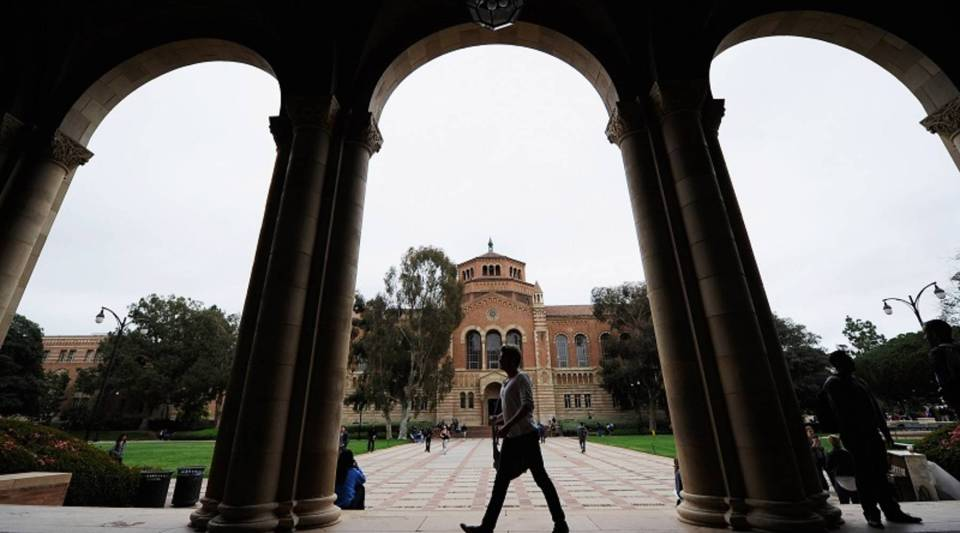 Universities investing in venture capital use endowments — that thing that funds scholarships. Above, a student walks near Royce Hall at the University of California, Los Angeles.
