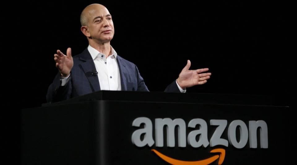 Amazon CEO Jeff Bezos at a press conference in Santa Monica, California.