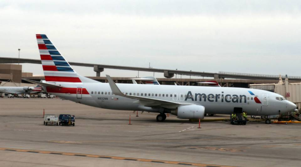 An American Airlines plane is seen on the tarmac at Phoenix Sky Harbor International Airport.