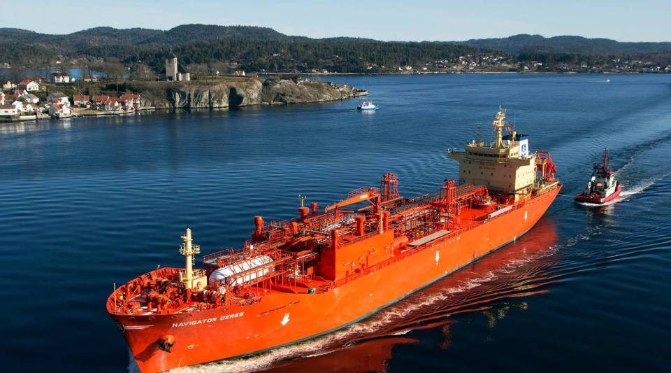 Navigator Ceres, a liquefied petroleum gas ship owned by Navigator Holdings Ltd., in Brevik, Norway, in March 2016.