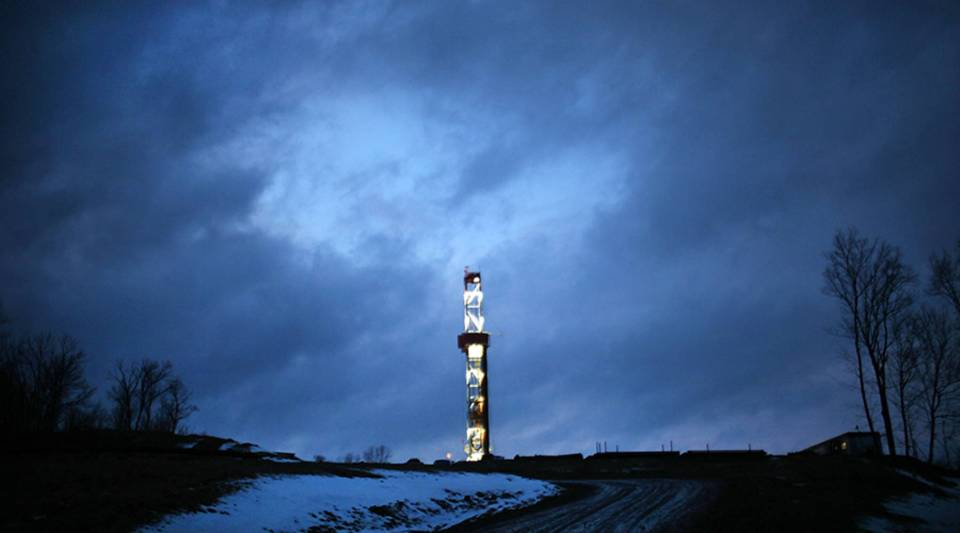 A natural gas drill at a hydraulic fracturing site on in Springville, Pennsylvania, in 2012.
