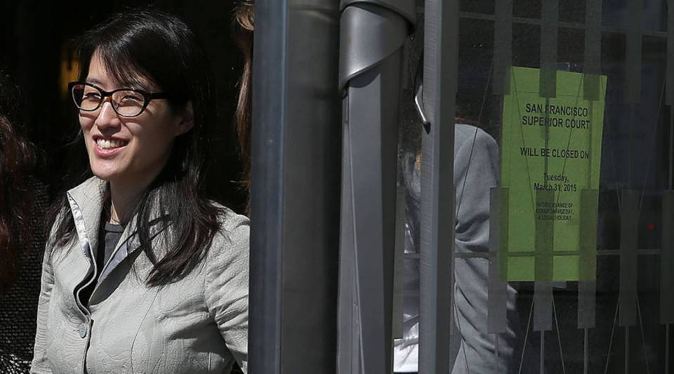 Ellen Pao leaves the San Francisco Superior Court Civic Center Courthouse during a lunch break from her trial on March 25, 2015, in San Francisco. Pao, Reddit's interim CEO, is suing her former employer, Silicon Valley venture capital firm Kleiner Perkins Caulfield and Byers, for $16 million alleging she was sexually harassed.