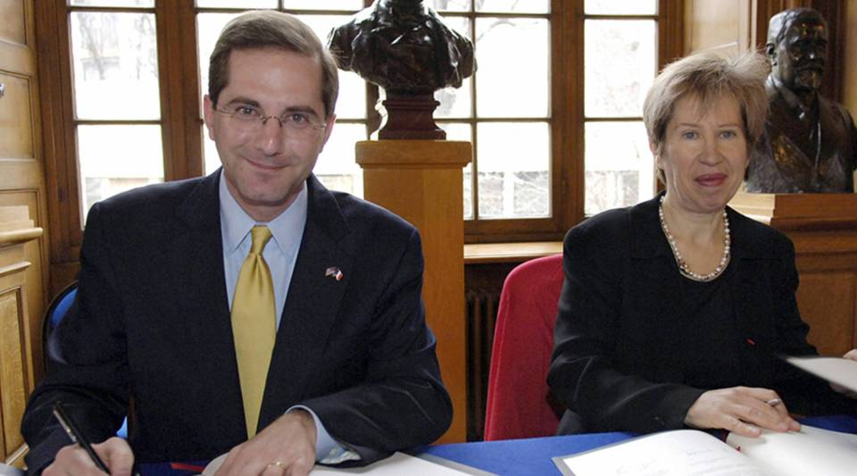 Alex Azar was U.S. deputy secretary of Health and Human Services in 2006 when this photo was taken in Paris with Alice Dautry, director of the Pasteur Institute, a French research laboratory.