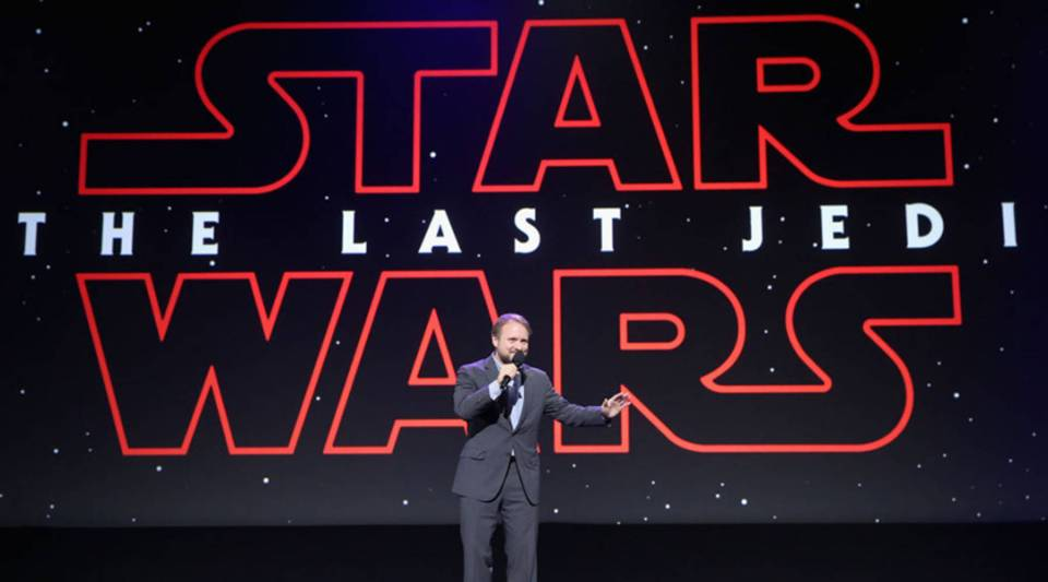 "Rian Johnson, director of ""Star Wars: The Last Jedi,"" at Disney's D23 EXPO 2017 in Anaheim, California in July."