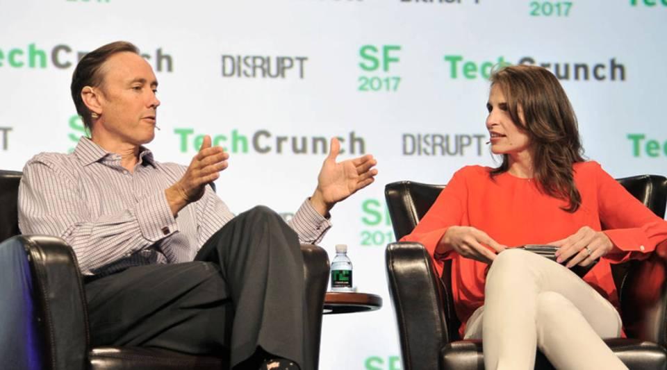 DFJ Partner Steve Jurvetson (L) and TechCrunch moderator Connie Loizos speak onstage during TechCrunch Disrupt SF 2017 at Pier 48 on September 18, 2017 in San Francisco, California.
