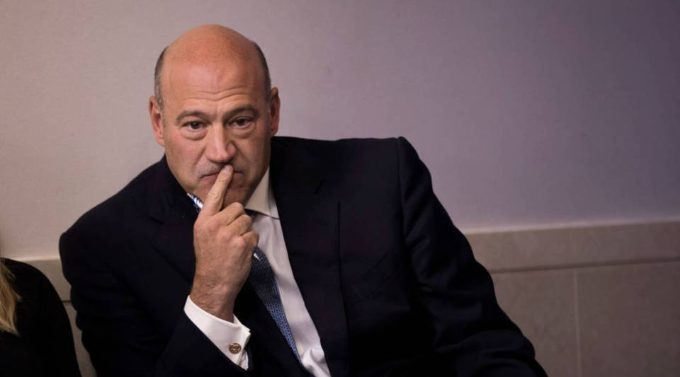 Economic adviser Gary Cohn waits to speak during the daily news briefing at the White House on Sept. 28.