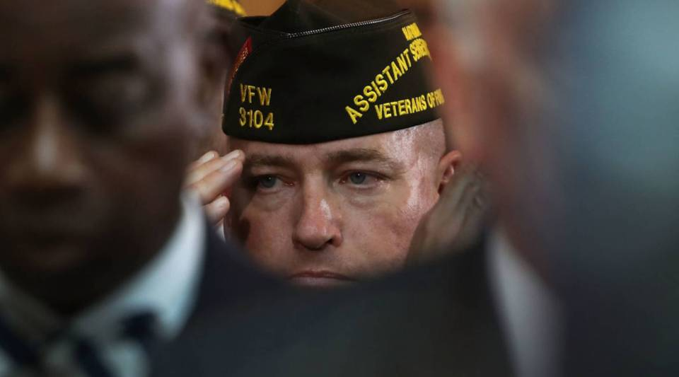 A veteran salutes during a ceremony to honor American prisoners of war and the nearly 83,000 servicemen and women missing in action, at the US Capitol on November 8, 2017 in Washington, DC.