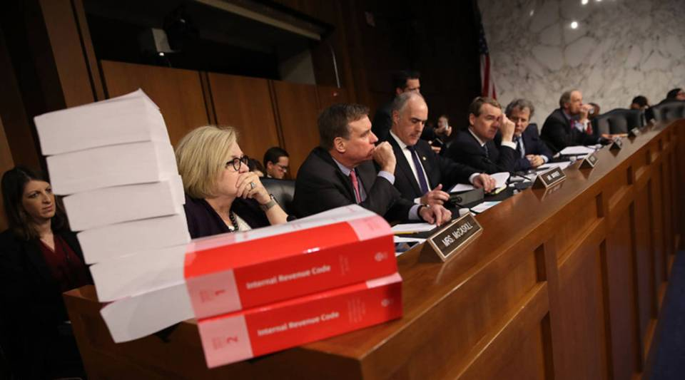 Members of the Senate Finance Committee participate in a markup of the Republican tax reform proposal today in Washington, D.C.