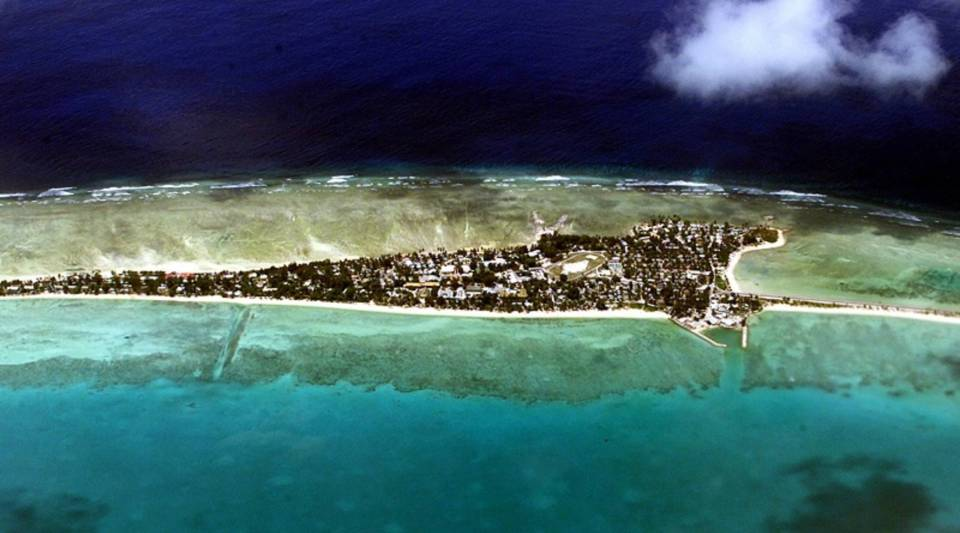 Tarawa atoll, capital of the archipelago nation of Kiribati, in 2001. The islands are expected to be mostly submerged within 100 years.