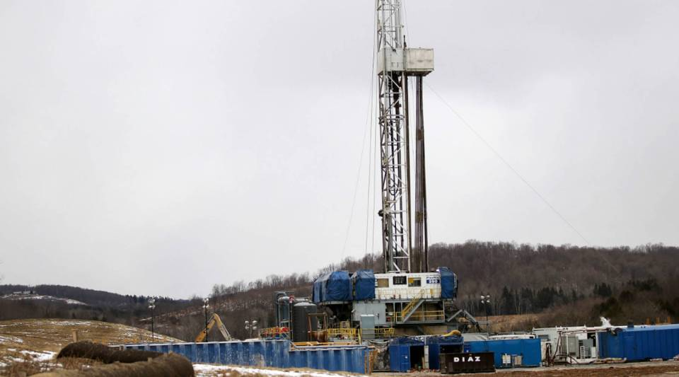 A Cabot Oil & Gas natural gas drill stands at a hydraulic fracturing site in South Montrose, Pennsylvania. The process is controversial with critics who say it could poison water supplies, while the natural-gas industry says it's been used safely for decades.