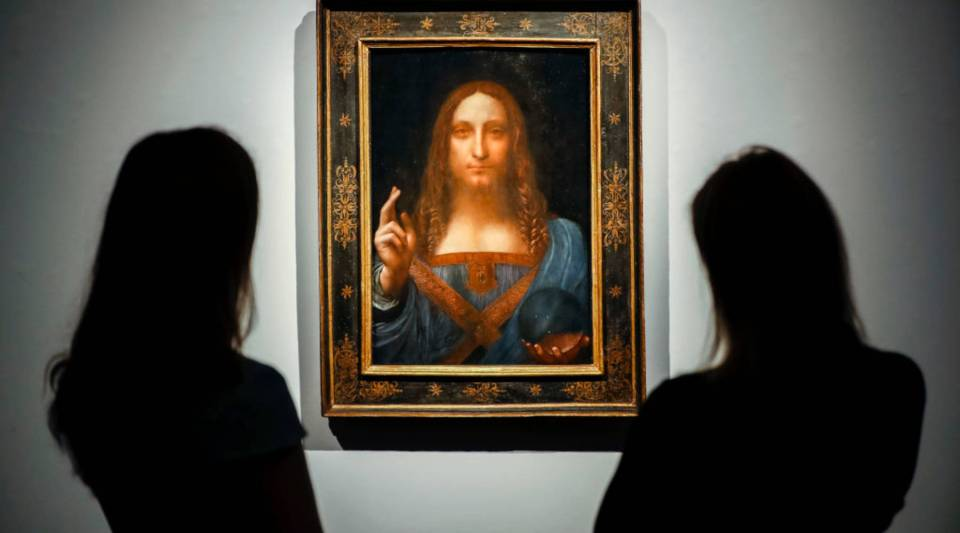 A view of Leonardo da Vinci's Salvator Mundi, which could rake in more than $100 million tonight at auction.