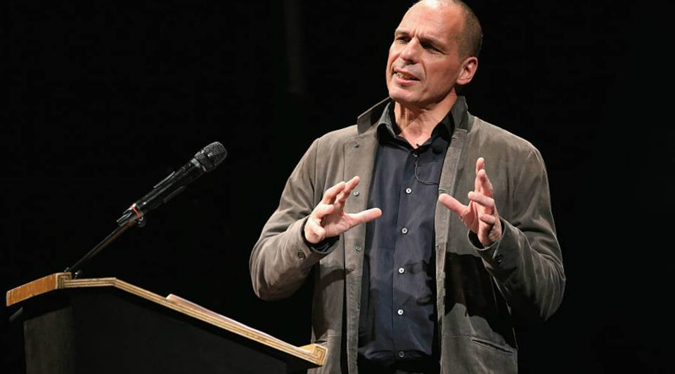 Former Greek Finance Minister Yanis Varoufakis speaks at the official launch of the Democracy in Europe Movement 2025.