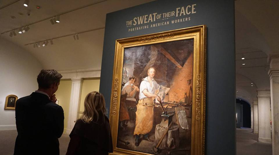 "Smithsonian Museum curator Dorothy Moss leads Marketplace host Kai Ryssdal through the new exhibition ""The Sweat of Their Face: Portraying American Workers."""