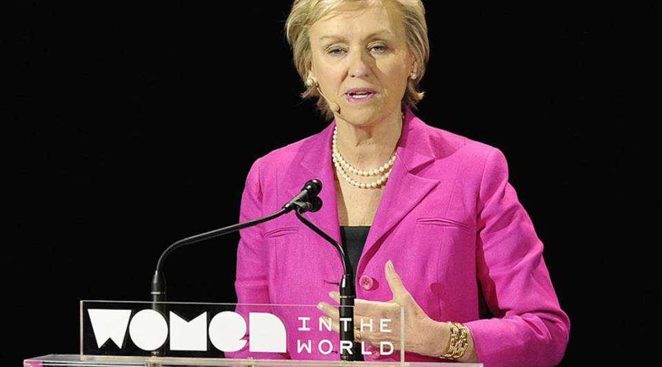 Tina Brown speaks at the Women in the World Summit in 2015 in New York City.