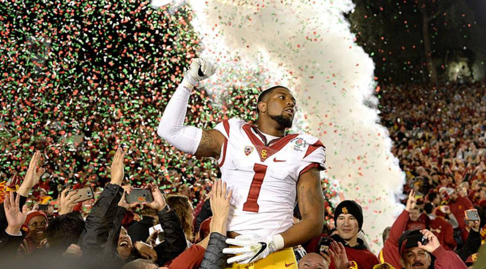 Wide receiver Darreus Rogers of the USC Trojans celebrates after defeating the Penn State Nittany Lions 52-49 to win the 2017 Rose Bowl on Jan. 2 in Pasadena, California.