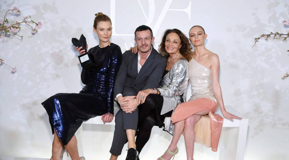 Karlie Kloss, left, Jonathan Saunders, Diane von Furstenberg and Kate Bosworth attend the 2017 DVF Awards at United Nations Headquarters in April in New York City. Saunders, DVF's former chief creative officer, left the company after 18 months.