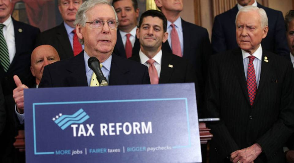 U.S. Senate Majority Leader Sen. Mitch McConnell (R-KY) speaks as Speaker of the House Rep. Paul Ryan (R-WI), Sen. Orrin Hatch (R-UT) and other congressional Republicans listen during a press event on tax reform September 27, 2017 at the Capitol in Washington, DC.