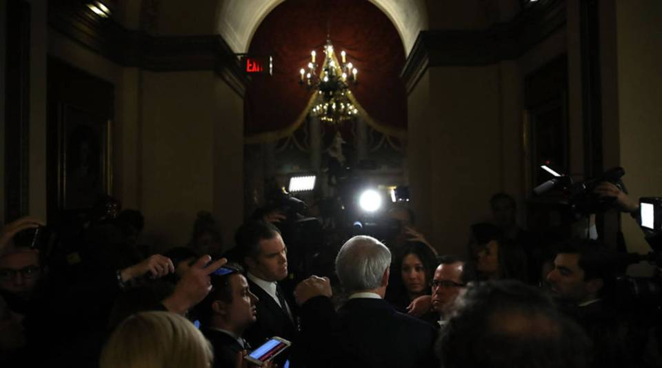 Senate Finance Committee member Sen. Rob Portman (R-OH) discusses progress on the tax reform bill with reporters at the U.S. Capitol today in Washington, D.C.