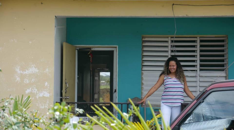 Glorimar Rivera outside her home in Hatillo, Puerto Rico.