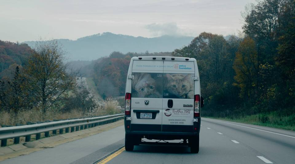 Kelly Brown drives the Brother Wolf van through Rutherford County, North Carolina on her way to receive dogs for the trip to Connecticut.
