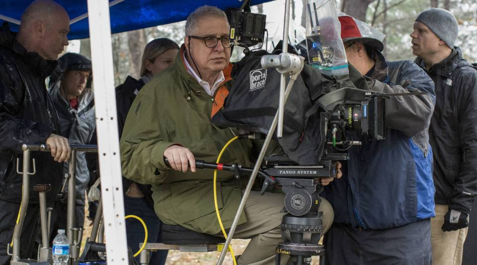 "Director Errol Morris behind the camera on the set of ""Wormwood."""