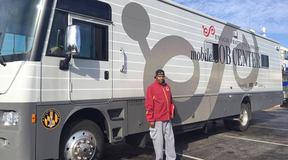 Adrian Henderson stopped by the Enoch Pratt Free Library's Mobile Job Center, in Baltimore.