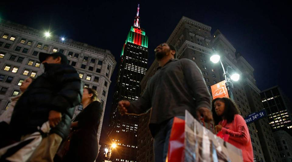 """""""2017 was a real rocky road for a lot of retailers, especially in the apparel sector,"""" says Elizabeth Holmes, who covers retail. Above, Christmas Eve shoppers in New York City in 2015."""