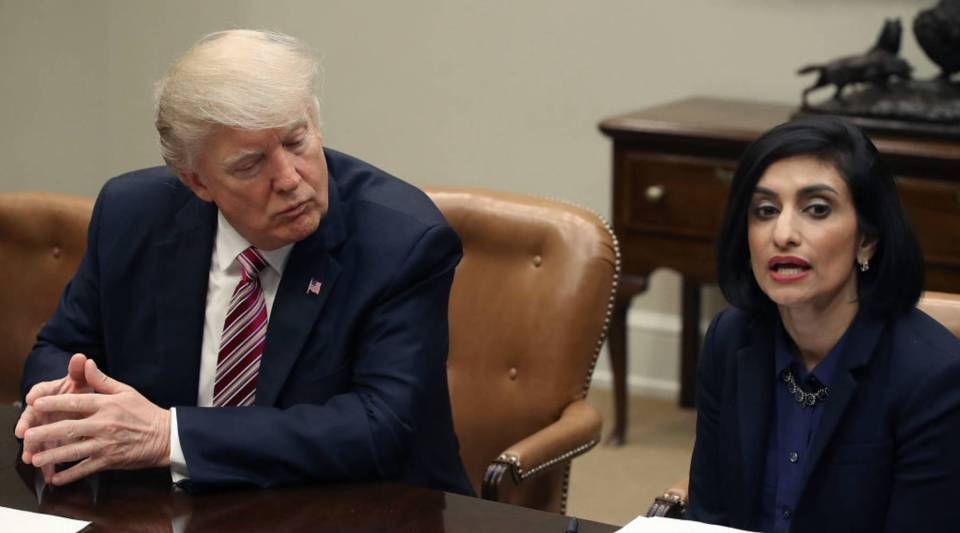 President Donald Trump listens to Seema Verma, administrator of the Centers for Medicare and Medicaid Service, during a Women in Healthcare panel in the Roosevelt Room at the White House March 22, 2017 in Washington, D.C.