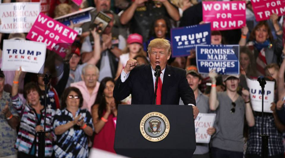 President Donald Trump speaks to supporters during a 'Make America Great Again Rally' at the Pennsylvania Farm Show Complex Expo Center in April in Harrisburg, Pennsylvania.