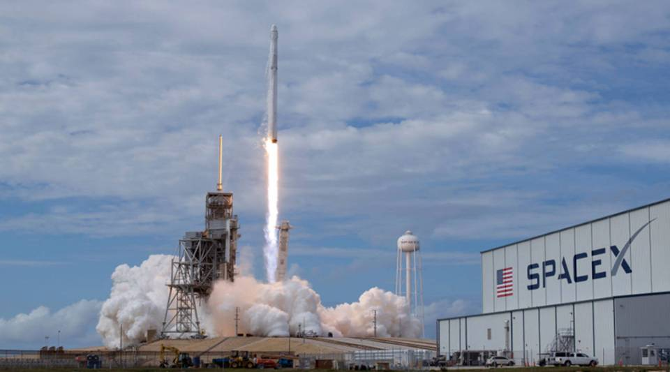 In this NASA handout, the SpaceX Falcon 9 rocket, with the Dragon spacecraft on board, launches at Kennedy Space Center in Cape Canaveral, Florida, on June 3, 2017.