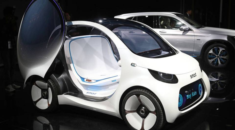 A Smart Vision EQ Fortwo autonomous electric concept car stands on display at the 2017 Frankfurt Auto Show on Sept. 12, 2017 in Frankfurt am Main, Germany.